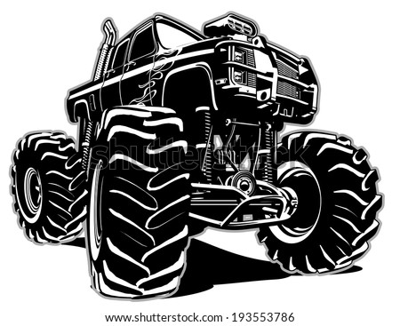 Cartoon Monster Truck. Eps-8 separated by groups and layers for easy edit - stock vector