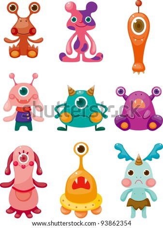 cartoon Monsters icons set - stock vector