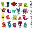 Cartoon monsters set. Colorful toy cute monster. Vector EPS 10 - stock vector