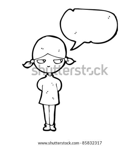 cartoon moody girl with speech bubble - stock vector