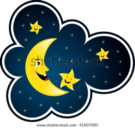 cartoon moon and star smiling