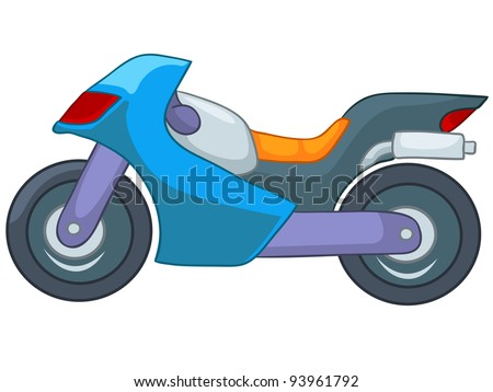 Cartoon Motorcycle Isolated on White Background. Vector EPS8. - stock vector