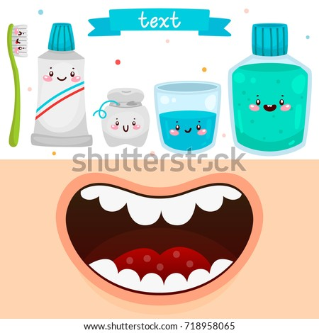 Cartoon Mouth And Tools For Oral Dental Hygiene Informational Poster Children Vector