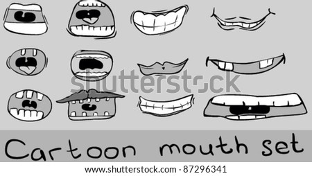 Cartoon mouth set - stock vector
