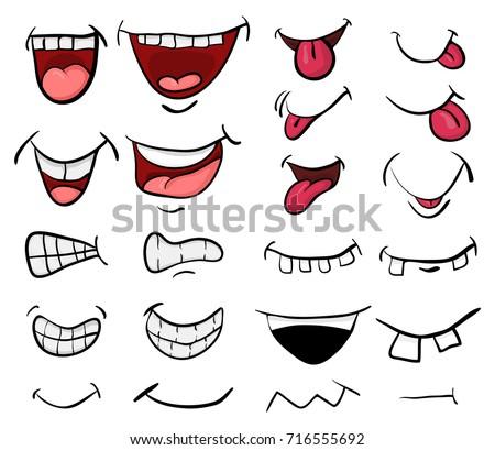 Cartoon Mouth Set Vector Symbol Icon Stock Vector