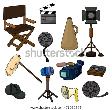 cartoon movie equipment icon set - stock vector