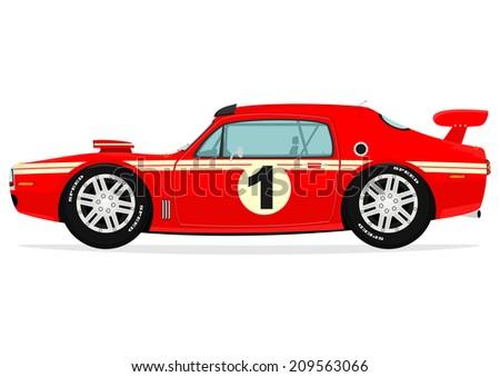 Cartoon muscle car. Vector  - stock vector