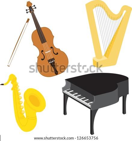 Cartoon music instruments vector set 1 - stock vector