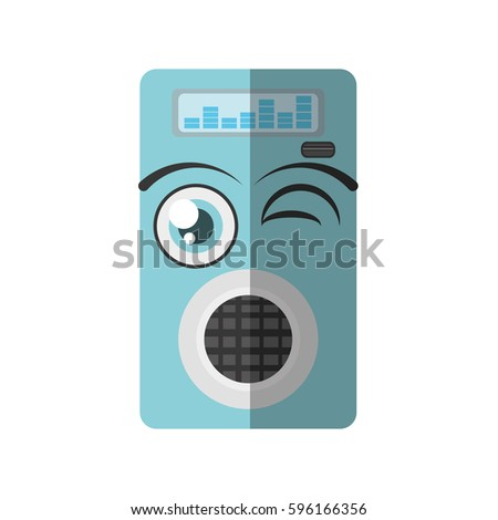 cartoon music mp3 icon wink vector illustration eps 10