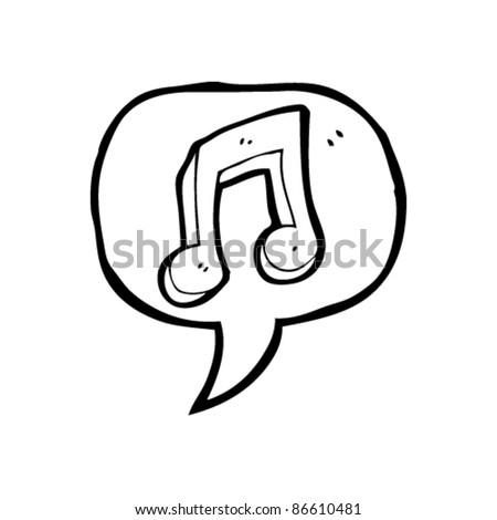 cartoon music note in speech bubble - stock vector