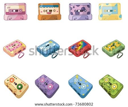 cartoon music tape icon - stock vector