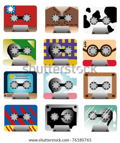 cartoon music tape icon - stock vector