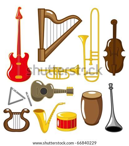 cartoon musical instruments - stock vector