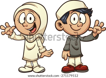 Cartoon Muslim kids. Vector clip art illustration with simple gradients. Each on a separate layer. - stock vector