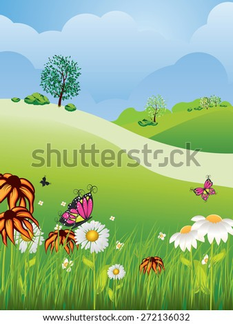 Cartoon nature summer or spring landscape, with fields, trees, grass and flowers.
