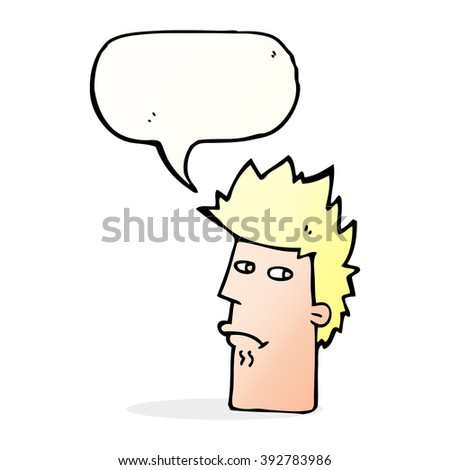 cartoon nervous expression with speech bubble - stock vector