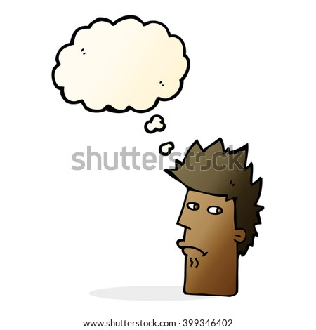 cartoon nervous expression with thought bubble - stock vector