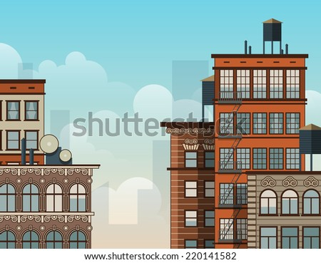 Cartoon New York rooftops. Old style architecture. EPS10 vector illustration. - stock vector