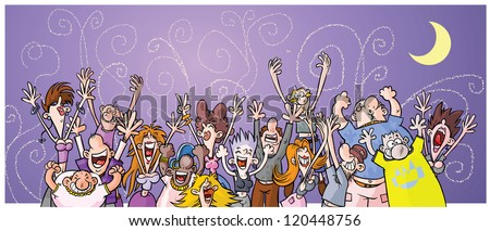Cartoon Night Party People. - stock vector