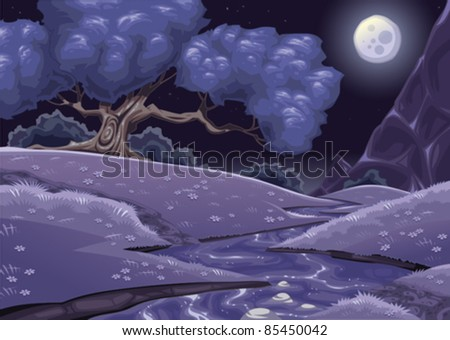 Cartoon nightly landscape with stream. Vector illustration. - stock vector
