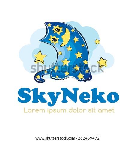 Cartoon nightsky cat logo design. Baby & children's products logotype concept icon. - stock vector