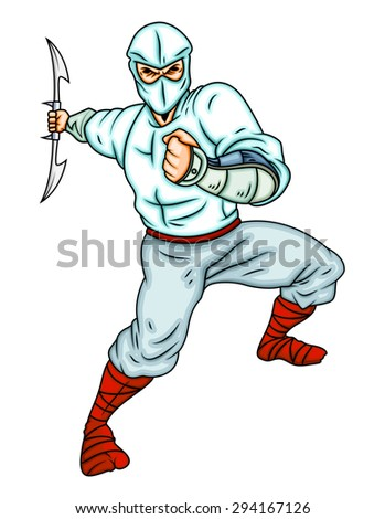 Cartoon Ninja Attacking - stock vector