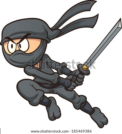 Cartoon ninja attacking. Vector clip art illustration with simple gradients. All in a single layer.  - stock vector