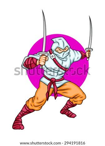 Cartoon Ninja Fighter - stock vector