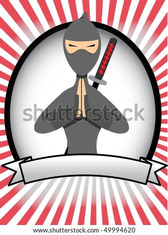 Cartoon Ninja Posing in Prayer Oval Banner Rays - stock vector