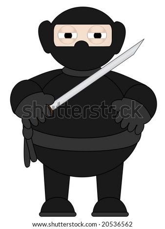 Cartoon Ninja with sword standing alone - stock vector