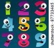 Cartoon Numbers Set 4 - stock photo