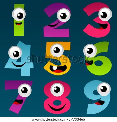 Cartoon Numbers Set 4 - stock vector
