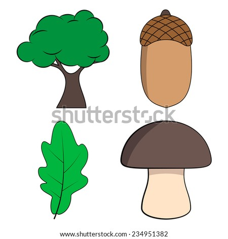 Cartoon Oak Tree, Oak Leaf, Acorn and Mushroom Set, Vector Illustration - stock vector