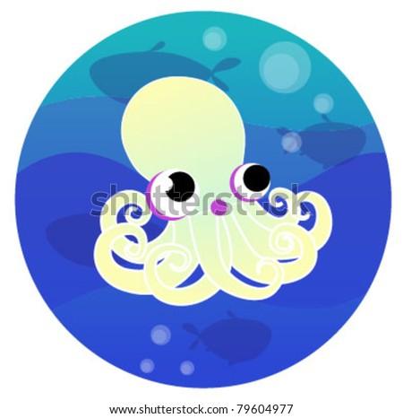 Cartoon octopus - stock vector