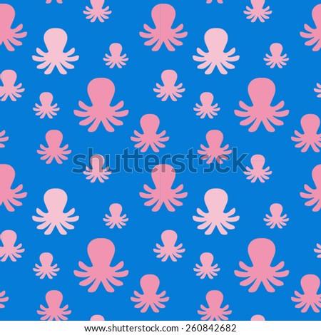 Cartoon octopus seamless pattern - stock vector