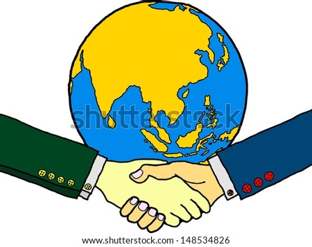 Cartoon of a business handshake with a globe in the background.  - stock vector
