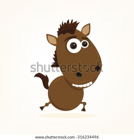 cartoon of a cute horse - stock vector
