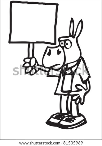 cartoon of a democratic donkey with a blank sign - stock vector