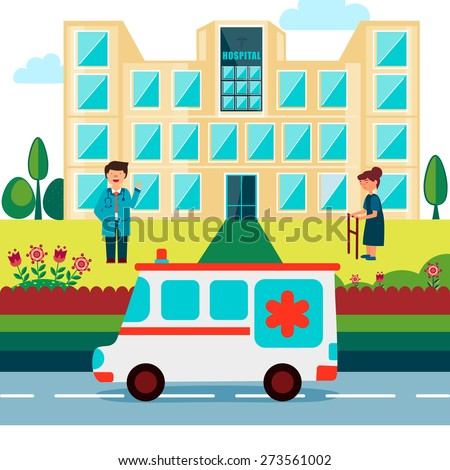 Cartoon of a doctor with patient standing outside of a hospital and an ambulance on the road. - stock vector