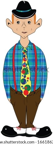 Cartoon of a funny looking man with big ears, standing with his hands in his pockets, wearing a hat, blue plaid shirt, red suspenders, a colorful tie, and big black and white shoes with red laces.   - stock vector