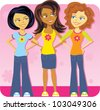 Cartoon of a group of teenage girls - stock vector