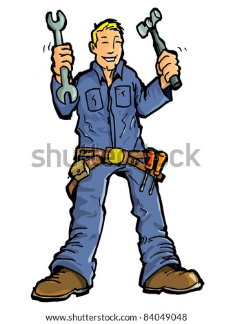 Cartoon of a handy man with all his tools.Isolated on white - stock vector
