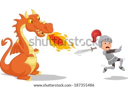 Cartoon of a knight running from a fierce dragon - stock vector