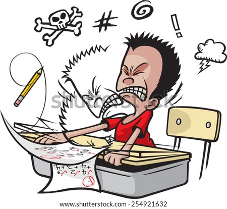 Cartoon of a school boy banging his head on his desk top. Vector file available.Schoolboy Banging Head - stock vector