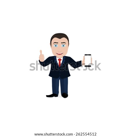 Cartoon of a young businessman with smartphone in hand. - stock vector