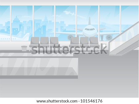 Cartoon of an empty airport terminal - stock vector