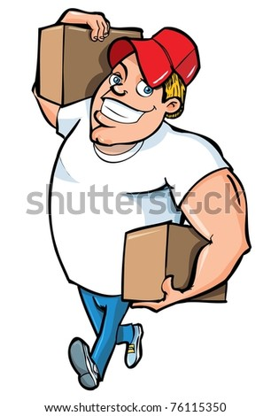Cartoon of burly delivery man carrying two boxes. Isolated on white