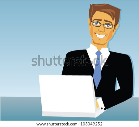Cartoon of business man with laptop - stock vector