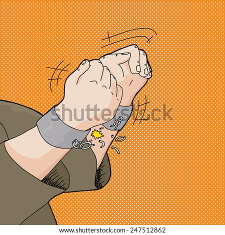 Cartoon of captive hands breaking out of handcuffs - stock vector
