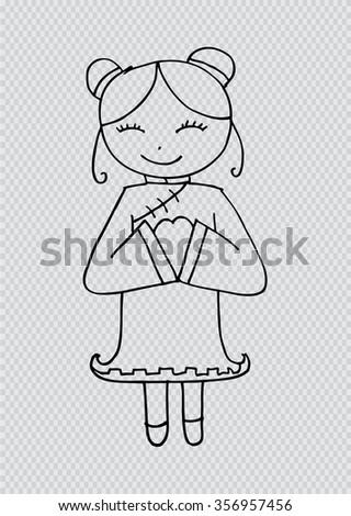 Cartoon of Chinese girl - stock vector